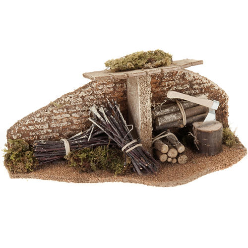 Décor crèche Noel, abri avec du bois 1