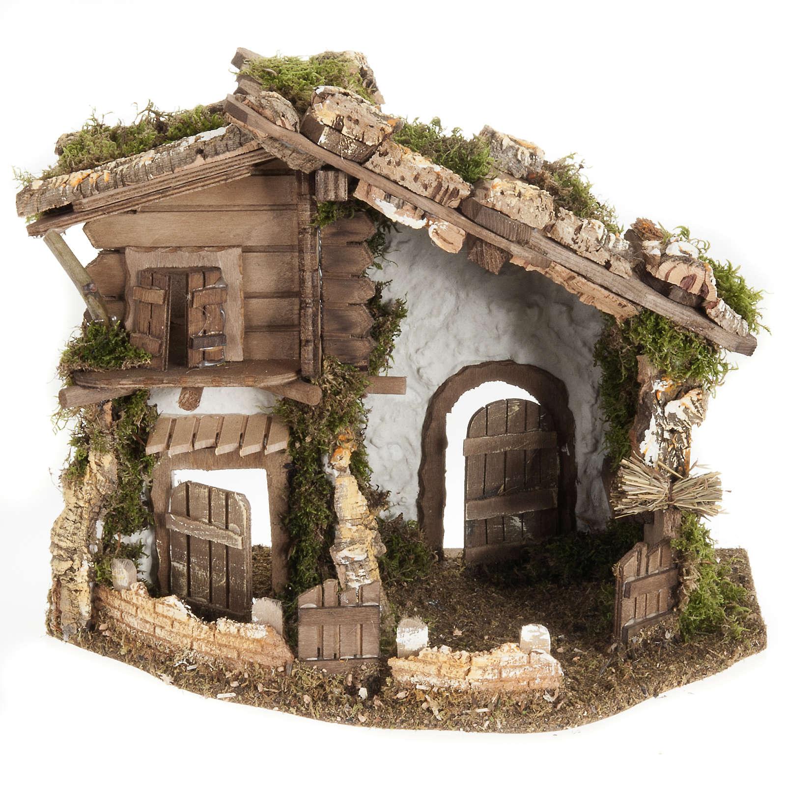 Nativity scene accessory, cabin-style hut, 28x38x30cm 4