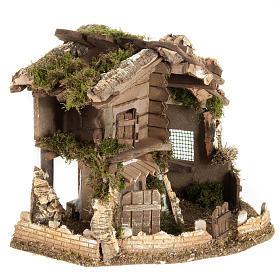 Nativity scene accessory, cabin-style hut, 28x38x30cm s5