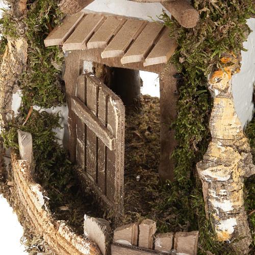 Nativity scene accessory, cabin-style hut, 28x38x30cm 2