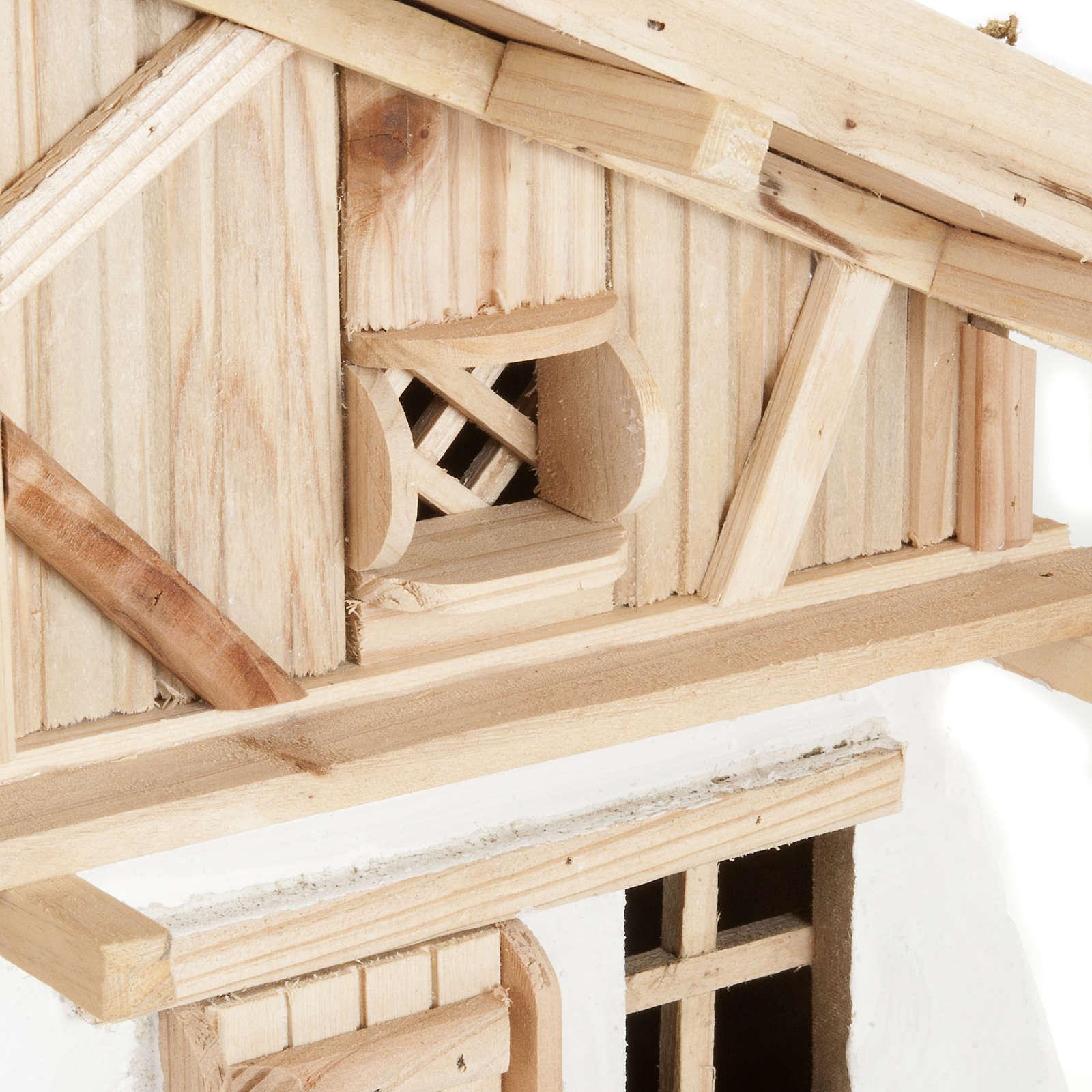 Capanna presepe legno naturale 60x30x30 cm 4