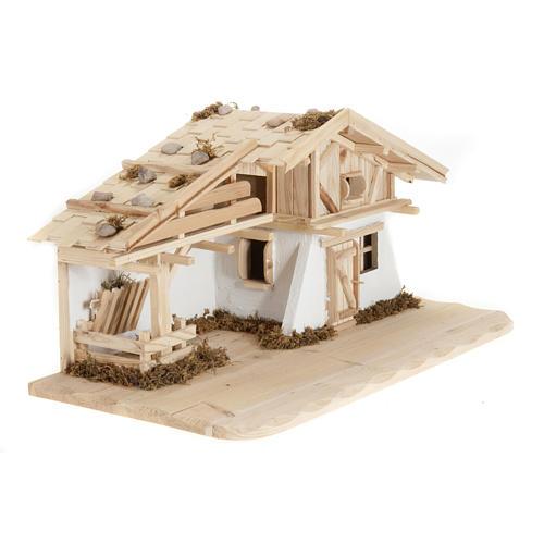 Capanna presepe legno naturale 60x30x30 cm 2