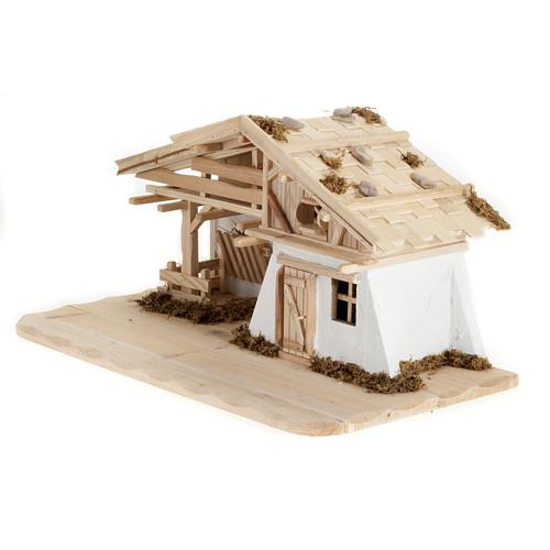 Capanna presepe legno naturale 60x30x30 cm 3