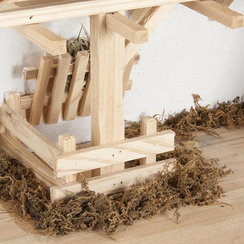 Capanna presepe legno naturale 60x30x30 cm 5
