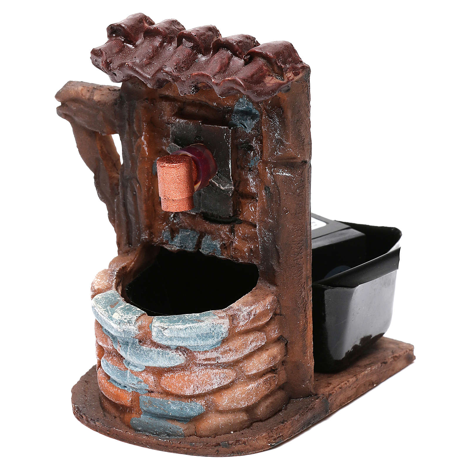 Nativity accessory, water fountain with bricks 9x7x10 cm 4