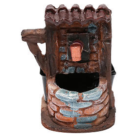 Fountains: Nativity accessory, water fountain with bricks 9x7x10 cm