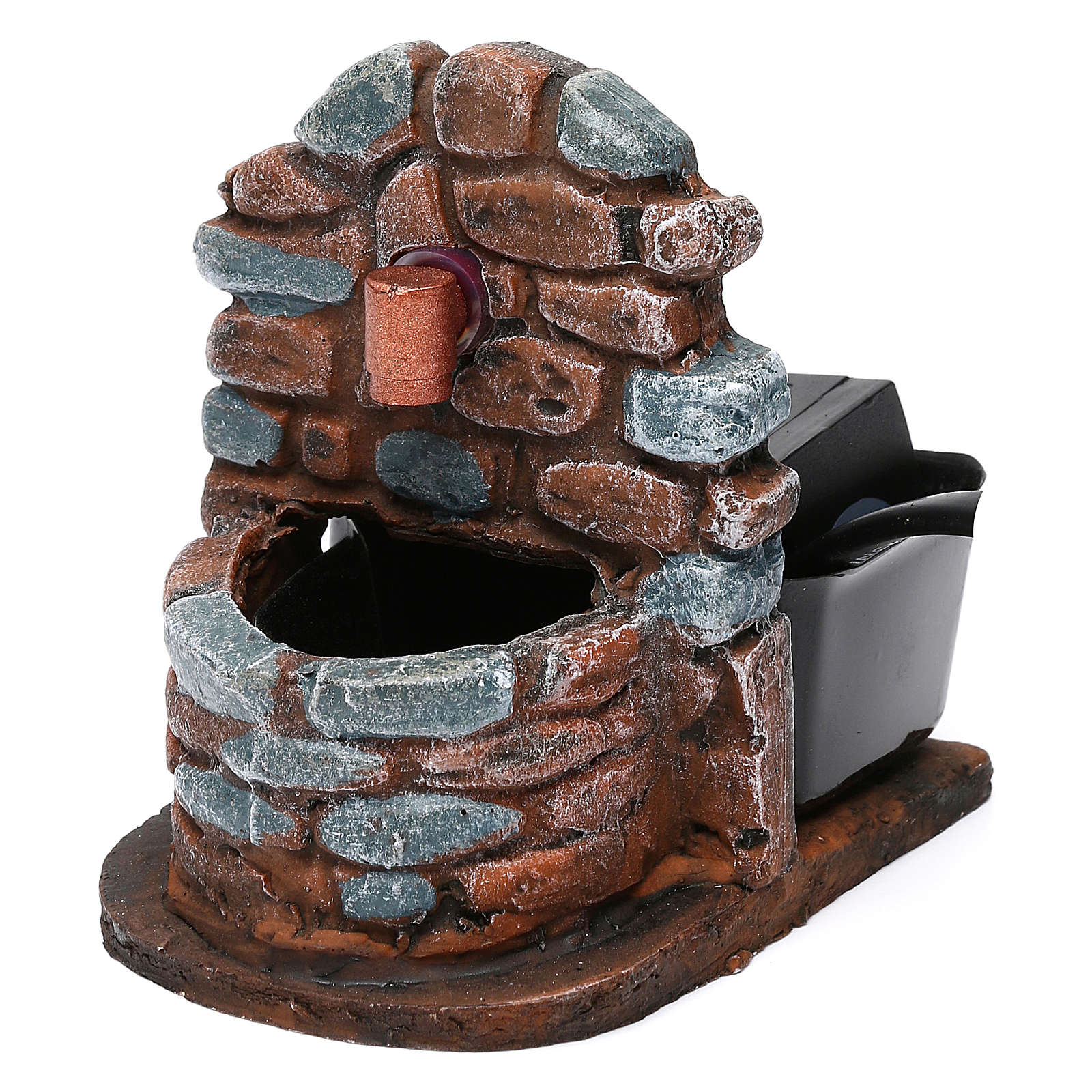 Nativity accessory, water fountain with pump, resin 9x7x10 cm 4