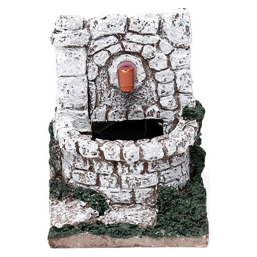 Nativity set accessory, water fountain with pump, resin 13X8X10 1