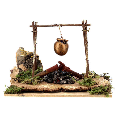 Nativity accessory, bonfire with pot, battery-powered 1