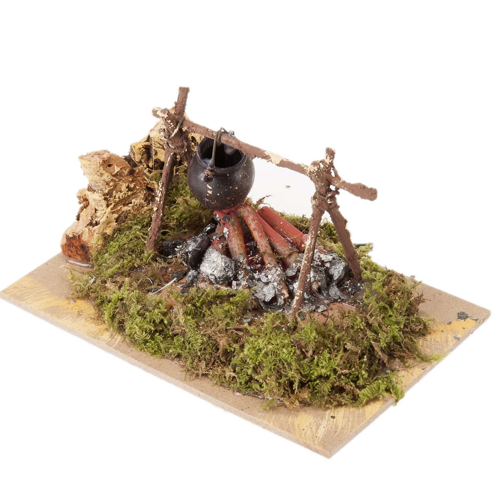 Milieu crèche Noel, feu avec casserole piles 15x10 4