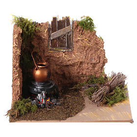 Fireplaces and ovens: Nativity setting, battery powered fire measuring 10x15cm