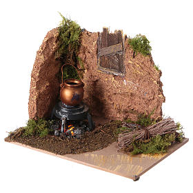Nativity setting, battery powered fire measuring 10x15cm s2