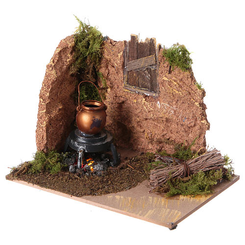 Nativity setting, battery powered fire measuring 10x15cm 2