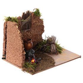 Feu de bois décoratif crèche de noël pile 10x15cm s3