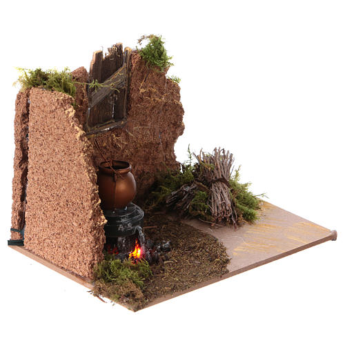 Feu de bois décoratif crèche de noël pile 10x15cm 3