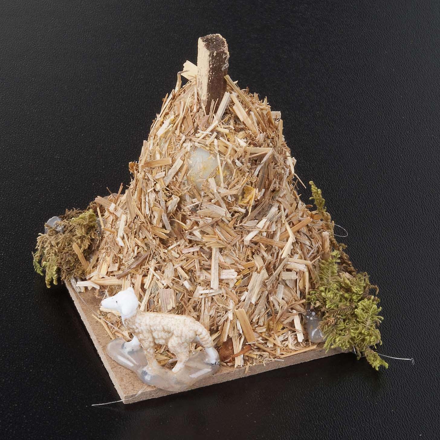 Nativity scene figurine, sheep and sheaf of straw 6cm 3