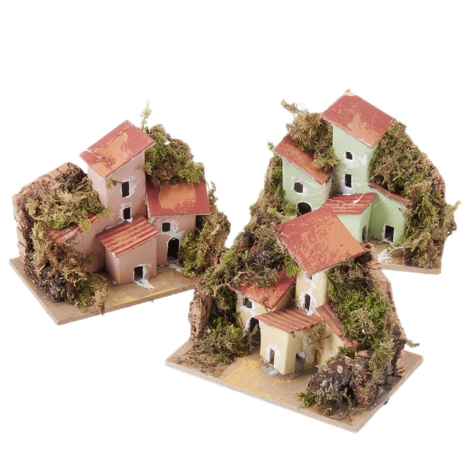 Nativity setting, houses in assorted colours 10x6cm 4