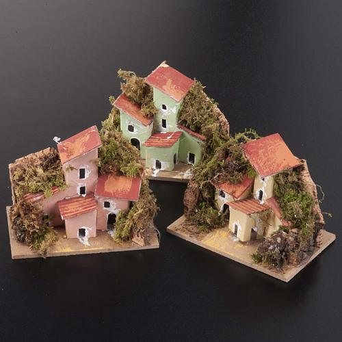 Nativity setting, houses in assorted colours 10x6cm 2