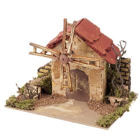 Mini moulin à vent crèche Noel 20x14 cm s1