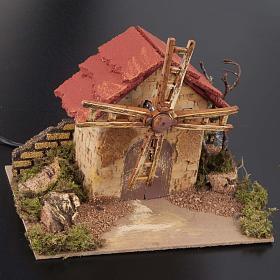 Mini moulin à vent crèche Noel 20x14 cm s2