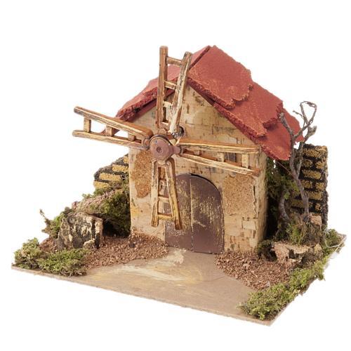 Mini moulin à vent crèche Noel 20x14 cm 1