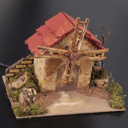 Mini moulin à vent crèche Noel 20x14 cm 2