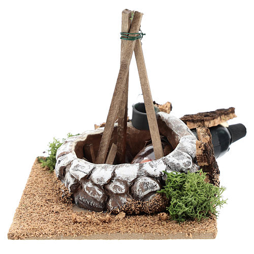 Nativity accessory, bonfire with pot 1