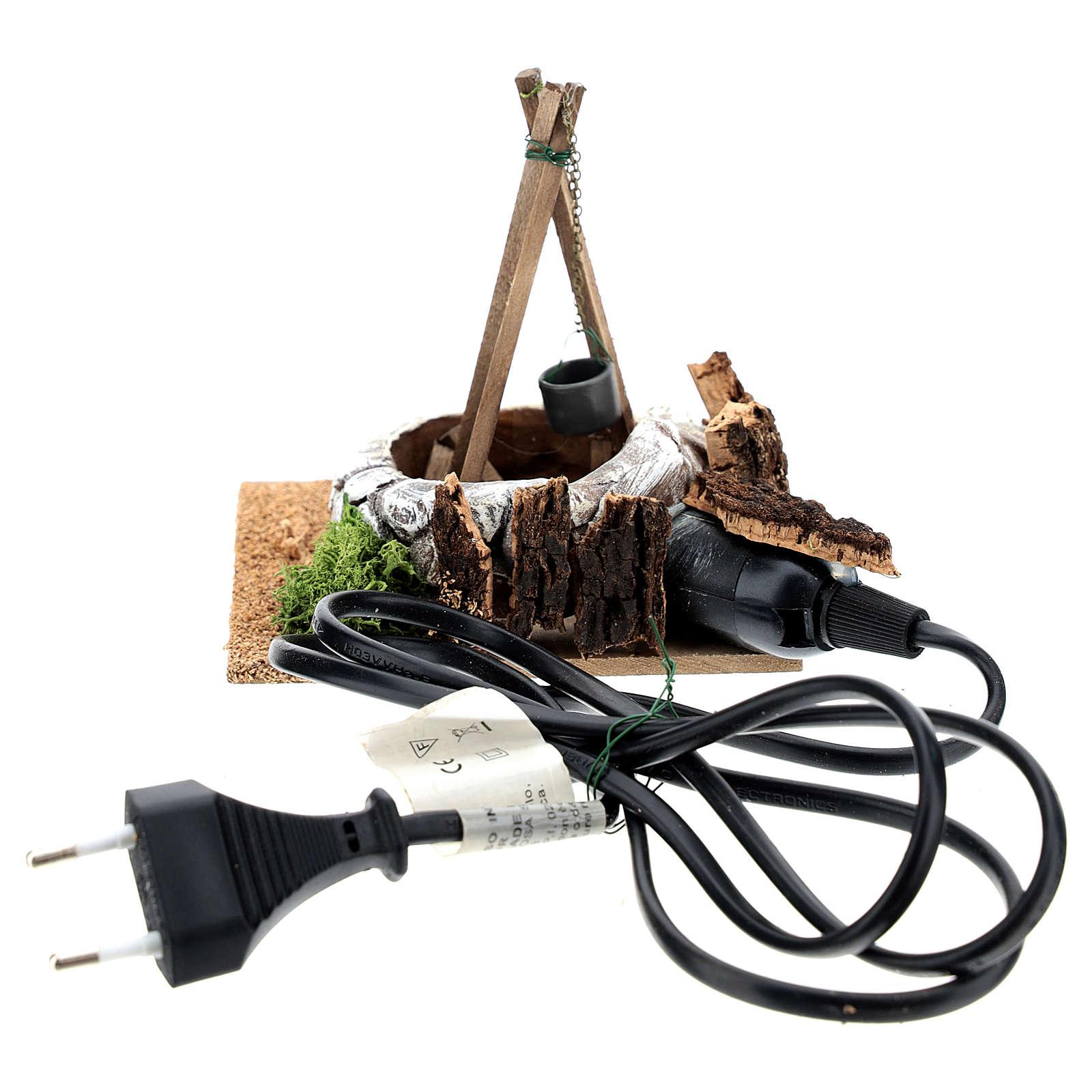 Fuoco elettrico con treppiedi: ambientazione presepe 4
