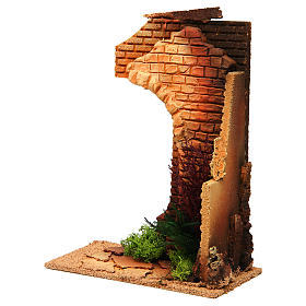 Nativity setting, half arch with bricks and flowers s2