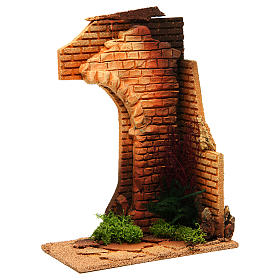 Nativity setting, half arch with bricks and flowers s3