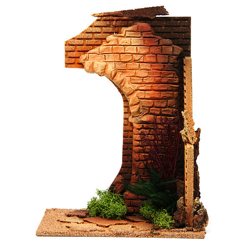 Nativity setting, half arch with bricks and flowers 1
