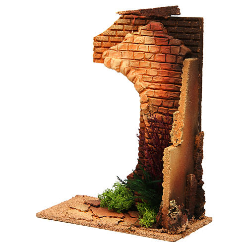 Nativity setting, half arch with bricks and flowers 2