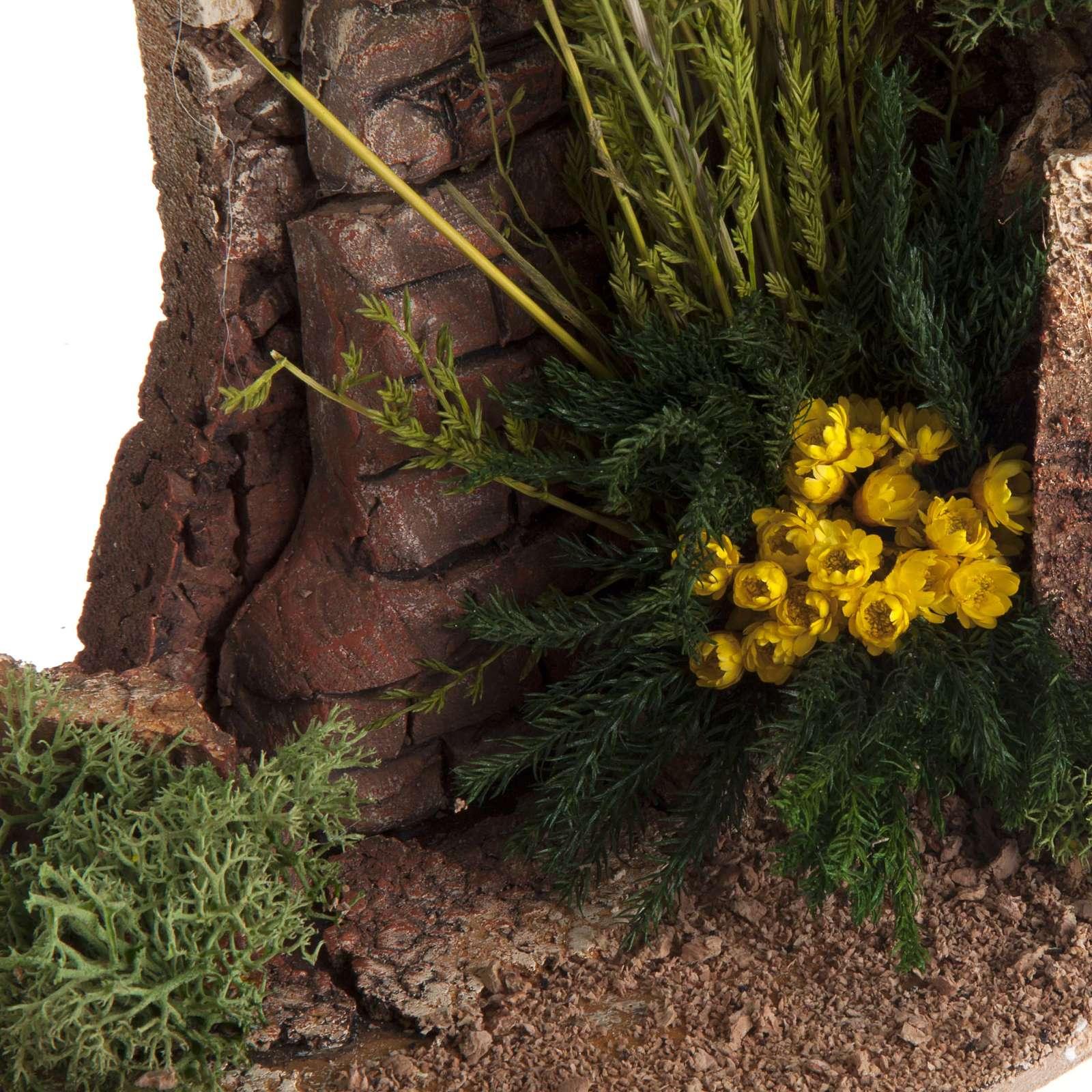 Mezzo arco con mattoni e fiori per presepe 4