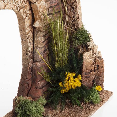 Mezzo arco con mattoni e fiori per presepe 3