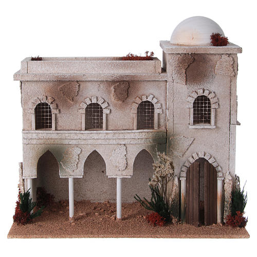 Nativity setting, Arabian house with dome and arches 1