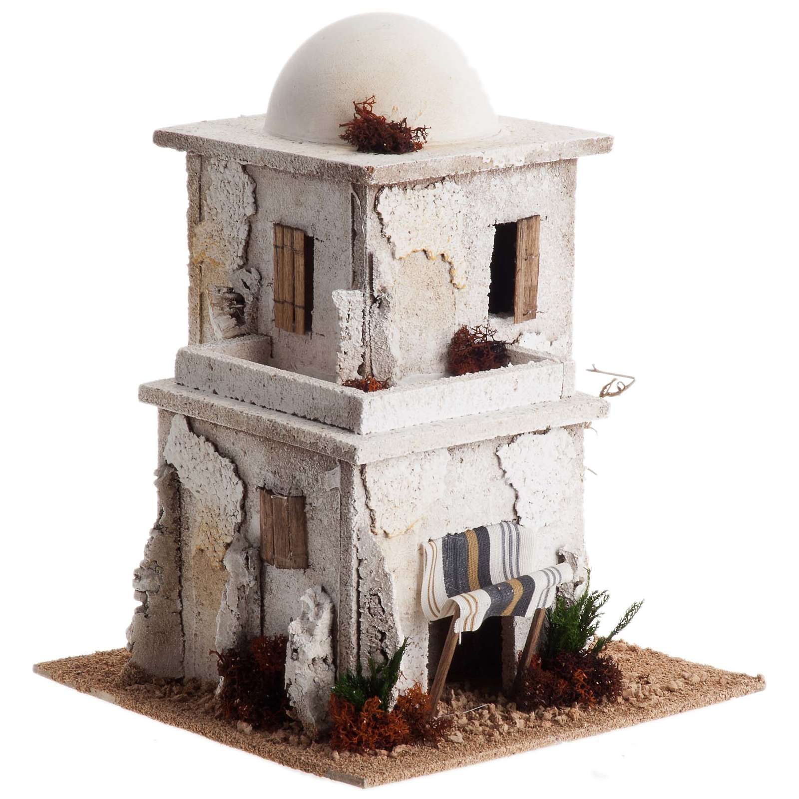 Nativity setting, double Arabian house with dome 4