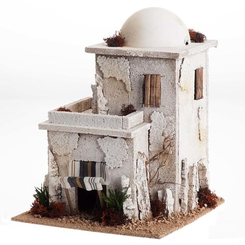 Nativity setting, double Arabian house with dome 1