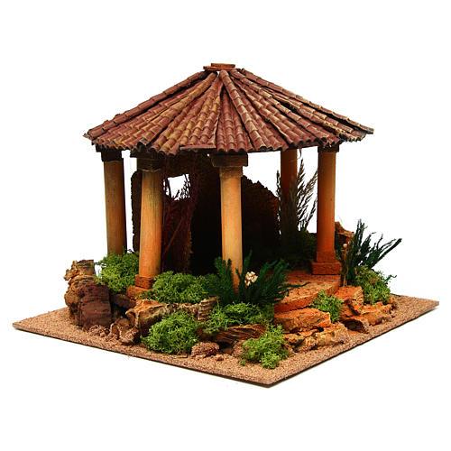 Temple romain avec toit rond milieu crèche Noel 3