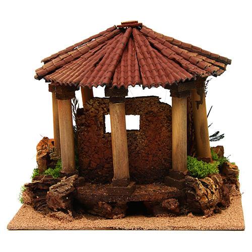 Temple romain avec toit rond milieu crèche Noel 4