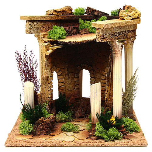 Nativity setting, Roman temple with columns and house 1