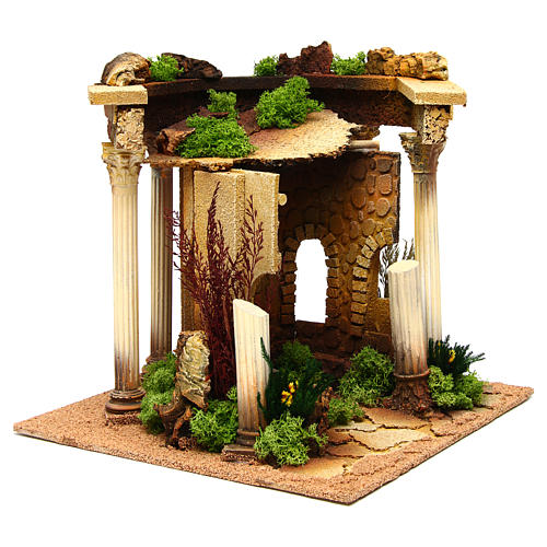 Nativity setting, Roman temple with columns and house 3