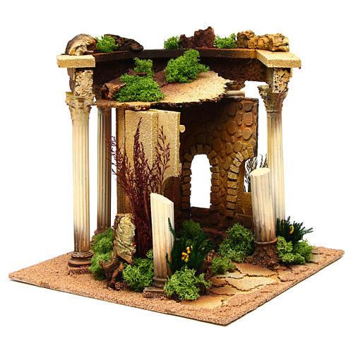 Temple romano con columnas y caseta belén 3