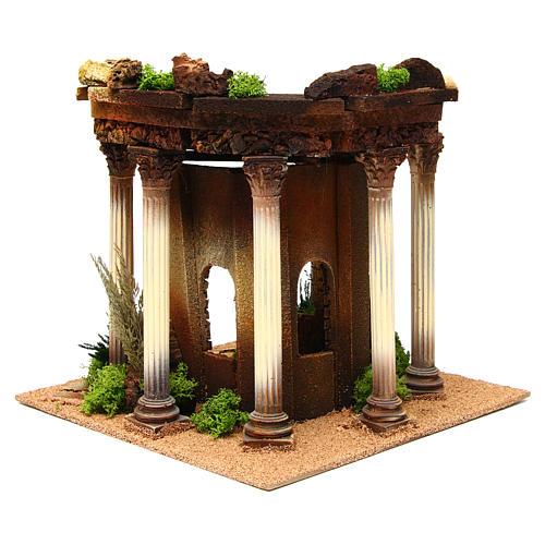 Temple romano con columnas y caseta belén 4