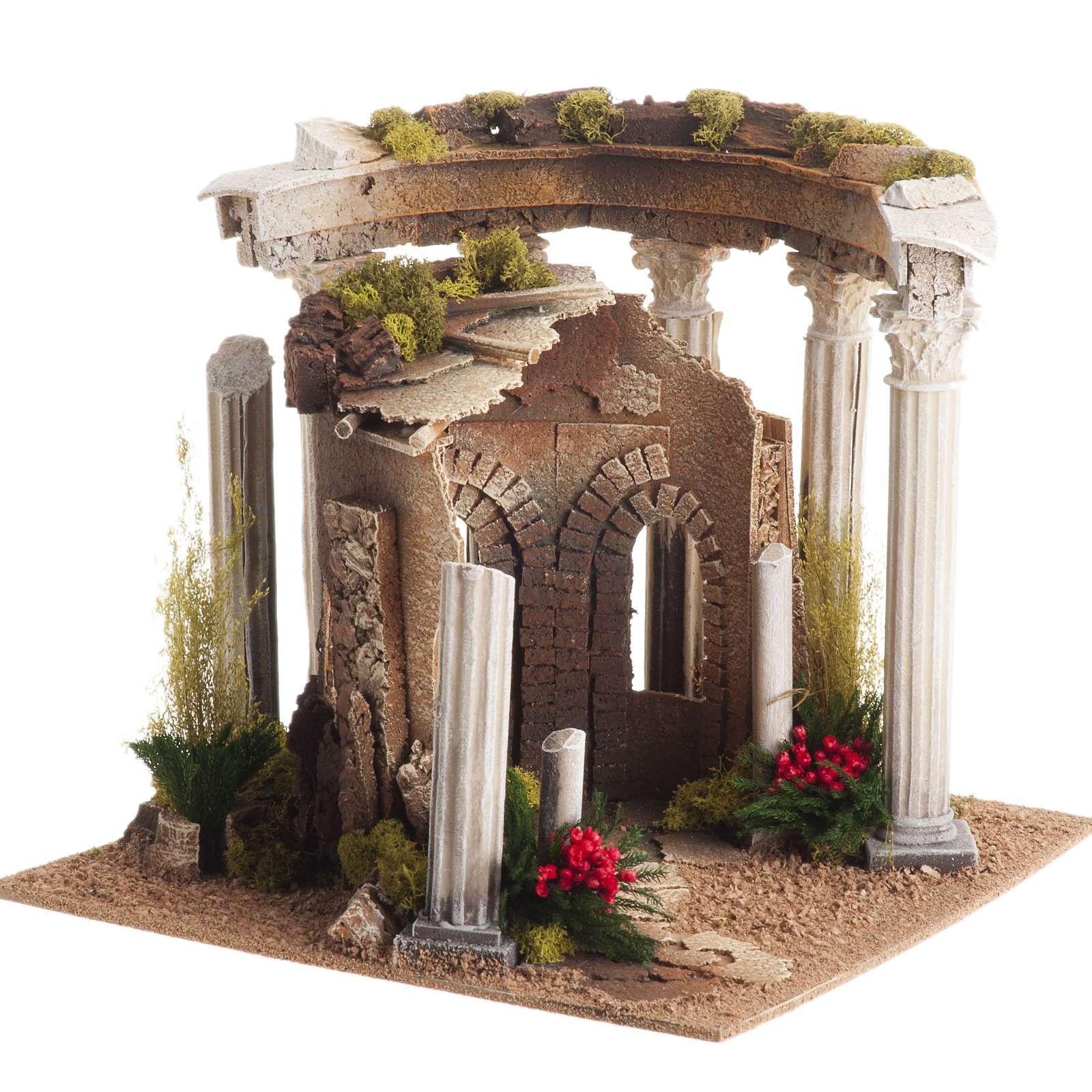 Temple romain avec colonnes et petite maison pour crèche 4