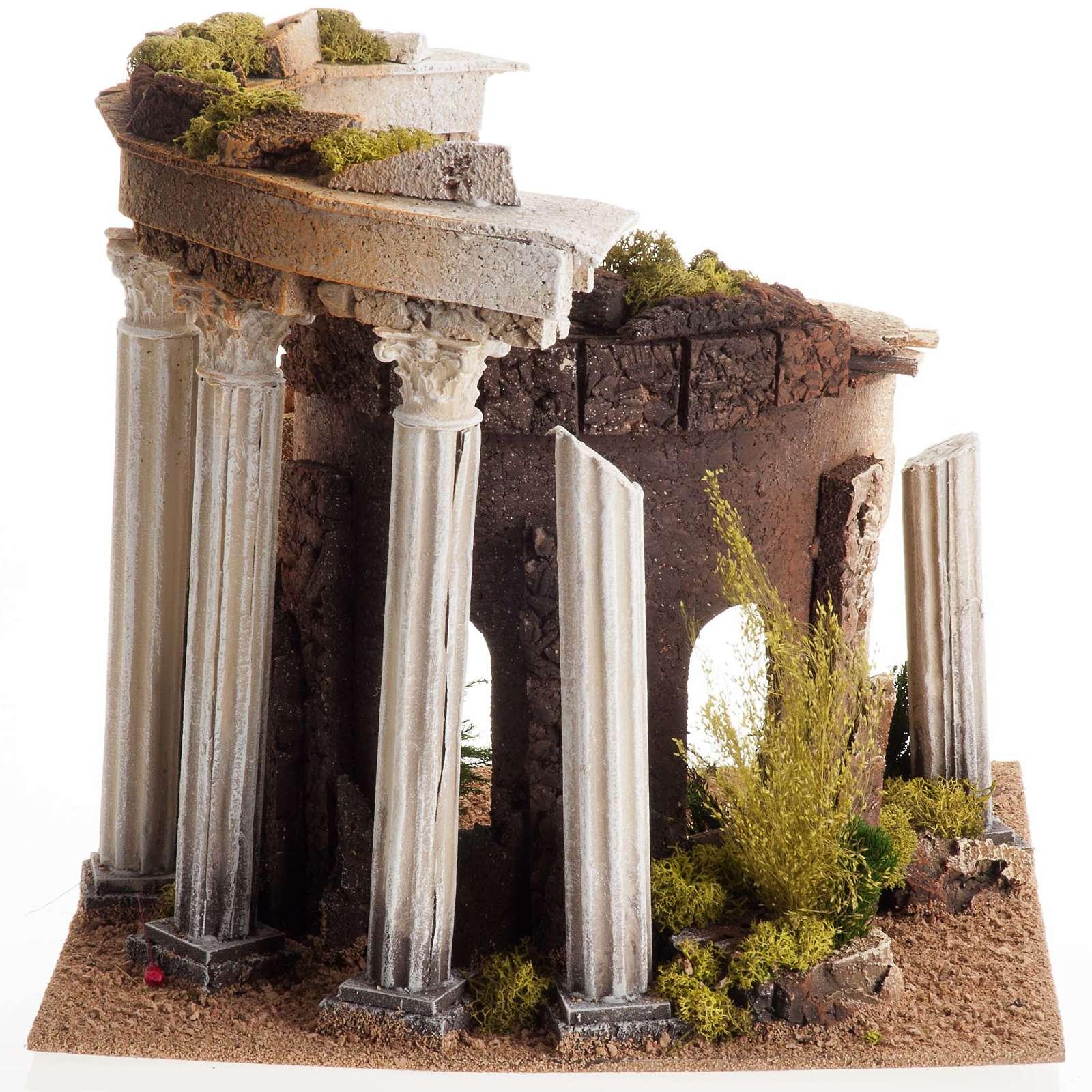 Tempio romano con colonne e casetta presepe 4