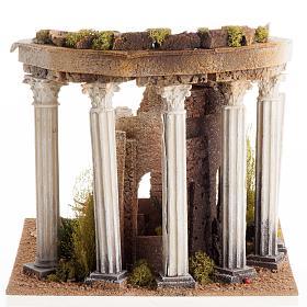 Tempio romano con colonne e casetta presepe s3