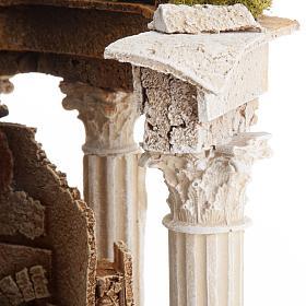 Tempio romano con colonne e casetta presepe s5