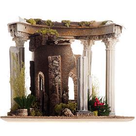 Tempio romano con colonne e casetta presepe s9