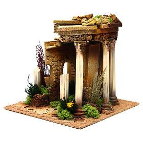 Tempio romano con colonne e casetta presepe s2