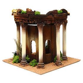 Tempio romano con colonne e casetta presepe s4